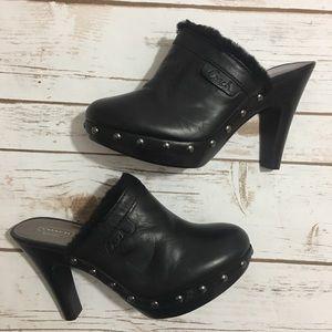 Coach Black Studded Heel Clogs